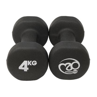 Picture of Mad Fitness: Black Neoprene 4 KG Dumbbells (Pair) (FDBELLBLK4)