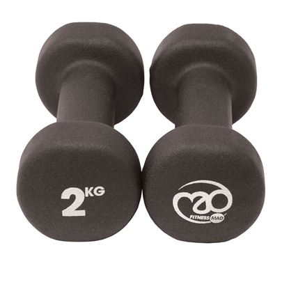 Picture of Mad Fitness: Black Neoprene 2 KG Dumbbells (Pair) (FDBELLBLK2)