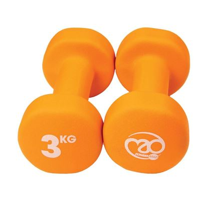 Picture of Mad Fitness: Orange Neoprene 3 KG Dumbbells (Pair) (FDBELL3)