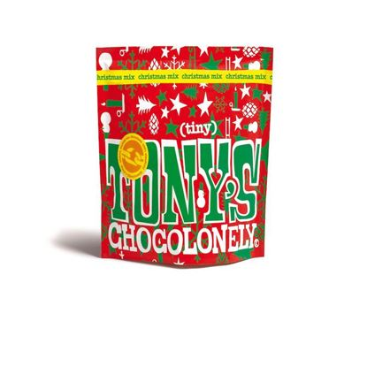 Picture of Tony's Chocolonely Tiny Xmas Christmas Mix Bags - 20 minis (21 Bags in a shipper)
